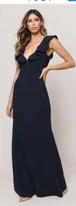Tobi Navy Ruffle Gown